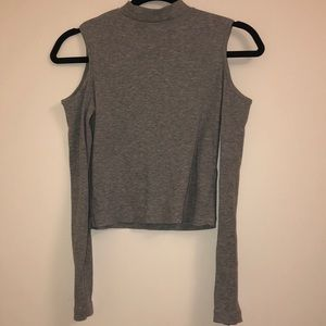 NWOT Grey crop top with shoulder cut outs
